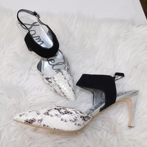 Sam Edelman snakeskin ankle strap point toe 10M